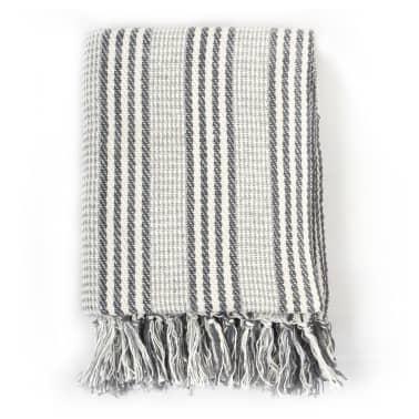 vidaXL Filt bomull ränder 160x210 cm grå och vit[2/6]