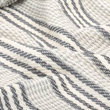 vidaXL Filt bomull ränder 160x210 cm grå och vit[5/6]
