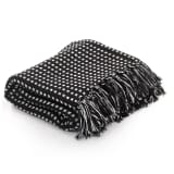 vidaXL Throw Cotton Squares 125x150 cm Black