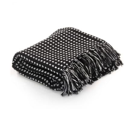 vidaXL Filt bomull fyrkanter 160x210 cm svart