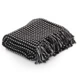 vidaXL Декоративно одеяло, памук, каре, 160x210 см, черен