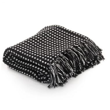 vidaXL Filt bomull fyrkanter 220x250 cm svart[1/6]
