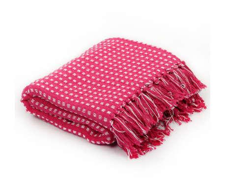 vidaXL Filt bomull fyrkanter 125x150 cm rosa