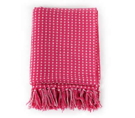 vidaXL Plaid vierkanten 160x210 cm katoen roze[2/6]