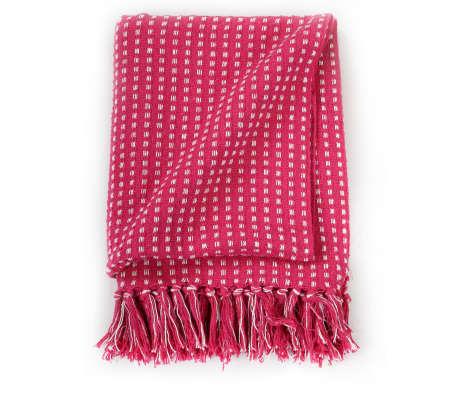 vidaXL Filt bomull fyrkanter 220x250 cm rosa[3/6]
