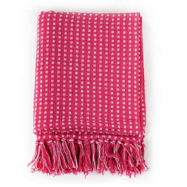 vidaXL Filt bomull fyrkanter 220x250 cm rosa[2/6]