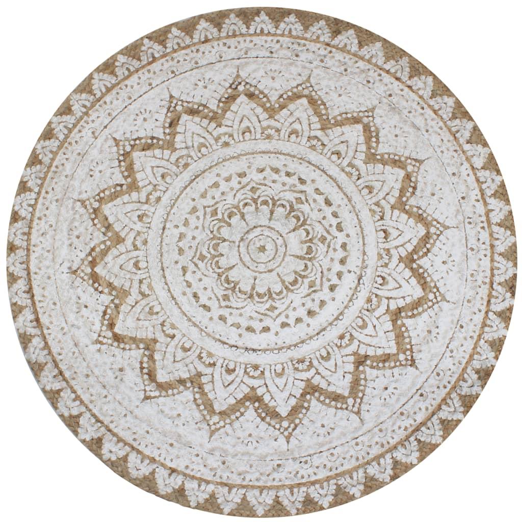vidaXL paklājs, 120 cm, apaļš, pīta džuta ar apdruku