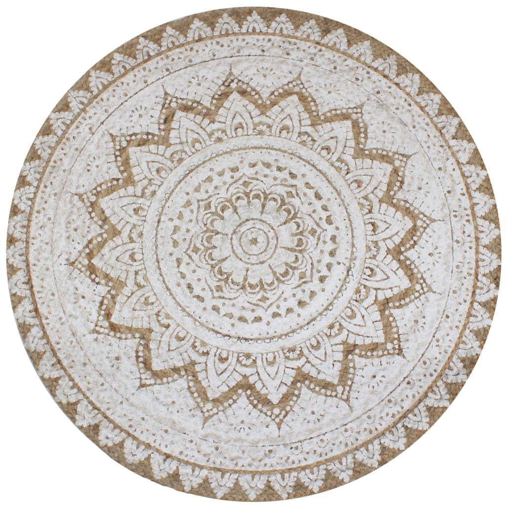 vidaXL paklājs, 150 cm, apaļš, pīta džuta ar apdruku