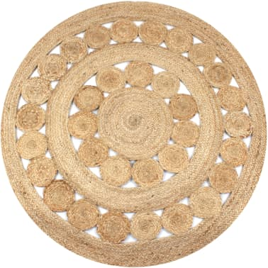 acheter vidaxl tapis jute design tress 120 cm rond pas cher. Black Bedroom Furniture Sets. Home Design Ideas