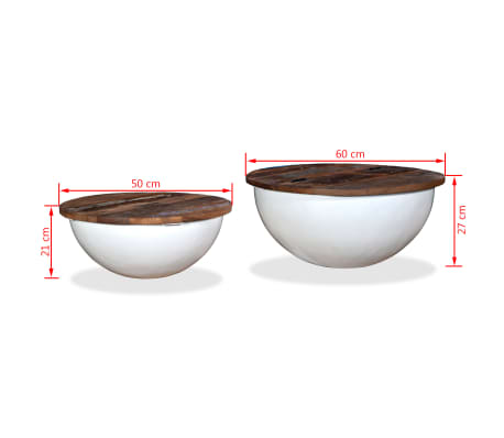 vidaXL Kavos staliukų kompl., 2d., perdirbta med., baltas, apvalus[13/13]