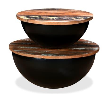 vidaXL Kavos staliukų kompl., 2d., perdirbta med., juodas, apvalus[6/13]