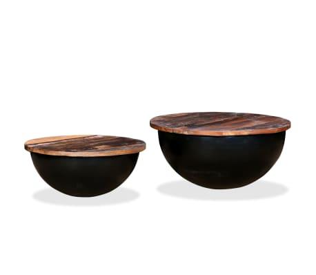 vidaXL Kavos staliukų kompl., 2d., perdirbta med., juodas, apvalus[9/13]