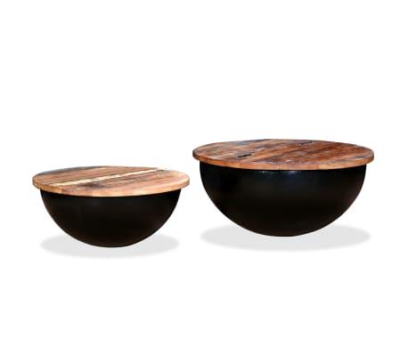 vidaXL Kavos staliukų kompl., 2d., perdirbta med., juodas, apvalus[10/13]