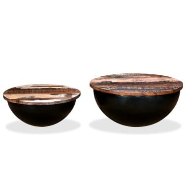vidaXL Kavos staliukų kompl., 2d., perdirbta med., juodas, apvalus[2/13]