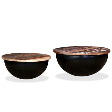 vidaXL Kavos staliukų kompl., 2d., perdirbta med., juodas, apvalus[11/13]