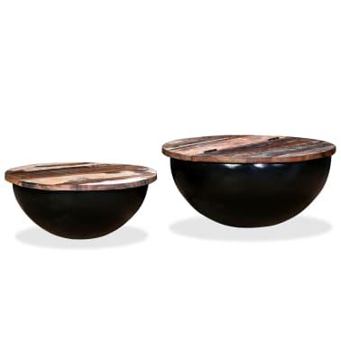 vidaXL Kavos staliukų kompl., 2d., perdirbta med., juodas, apvalus[12/13]