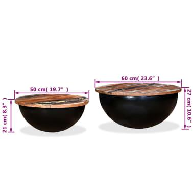 vidaXL Kavos staliukų kompl., 2d., perdirbta med., juodas, apvalus[13/13]