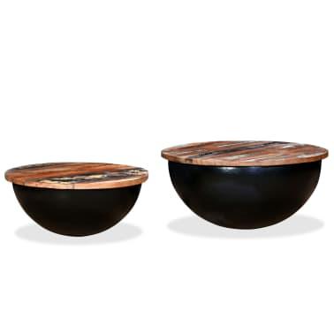 vidaXL Kavos staliukų kompl., 2d., perdirbta med., juodas, apvalus[5/13]