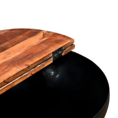 vidaXL Kavos staliukų kompl., 2d., perdirbta med., juodas, apvalus[8/13]