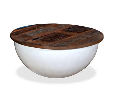 vidaXL kafijas galdiņš, bļodas forma, pārstrādāts masīvkoks, balts