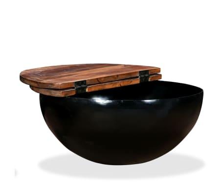 vidaXL Kavos staliukas, perdirbta mediena, dubens forma, juodas[4/11]