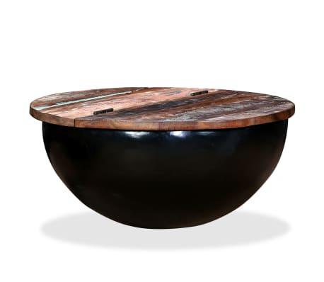 vidaXL Kavos staliukas, perdirbta mediena, dubens forma, juodas[10/11]