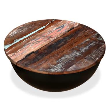 vidaXL Kavos staliukas, perdirbta mediena, dubens forma, juodas[2/11]