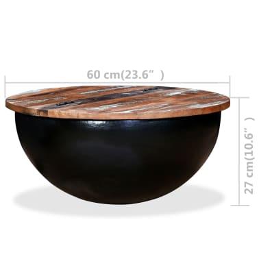 vidaXL Kavos staliukas, perdirbta mediena, dubens forma, juodas[11/11]
