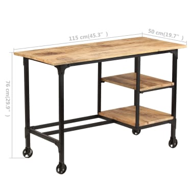 vidaXL Desk with Folding Stool Solid Mango Wood 115x50x76 cm[12/16]