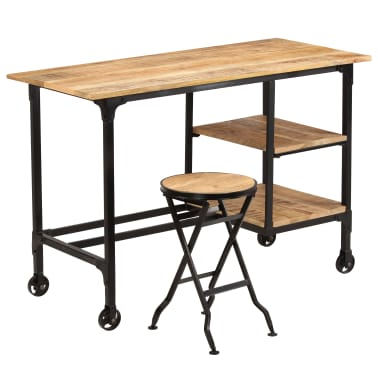 vidaXL Desk with Folding Stool Solid Mango Wood 115x50x76 cm[15/16]