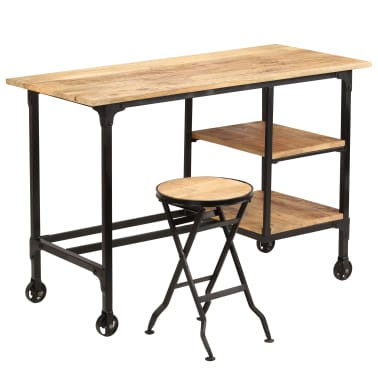 vidaXL Desk with Folding Stool Solid Mango Wood 115x50x76 cm[10/16]