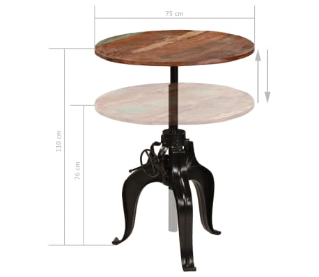 vidaXL Bar Table Solid Reclaimed Wood 75x(76-110) cm[15/15]