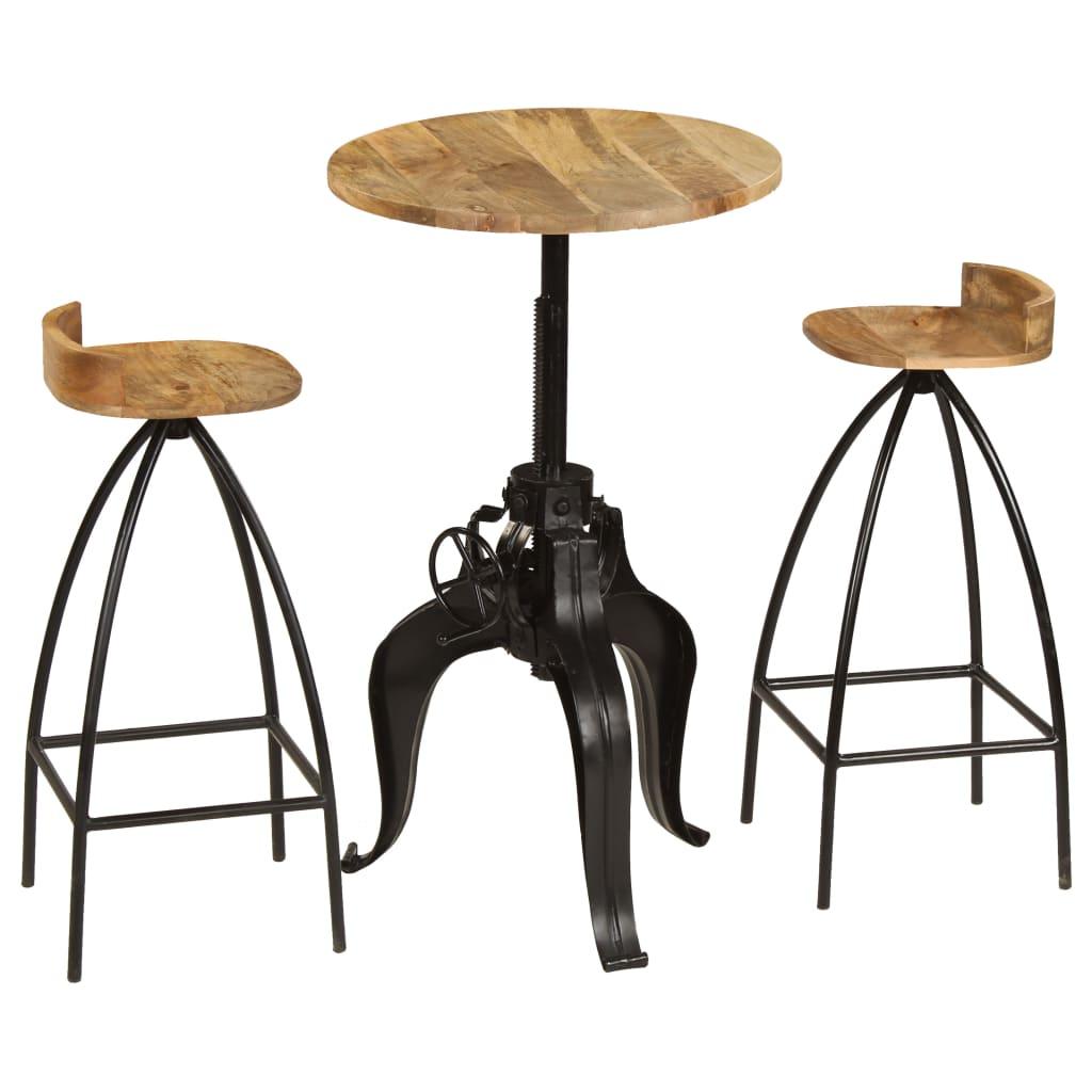 vidaXL Set mobilier de bar 3 piese, lemn masiv de mango vidaxl.ro
