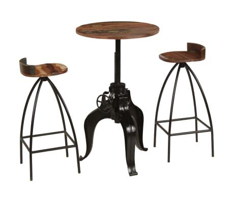 vidaXL Stůl a židle do baru z masivního recyklovaného dřeva 3 ks