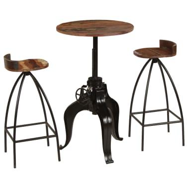 vidaXL Conjunto de muebles de bar 3 piezas madera maciza reciclada[1/24]
