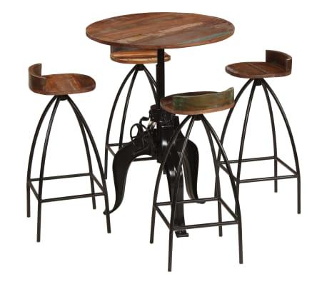 vidaXL Stůl a židle do baru z masivního recyklovaného dřeva 5 ks