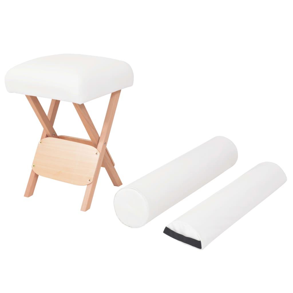 Skládací masážní stolička, 12 cm silný sedák, 2 opěrky, bílá