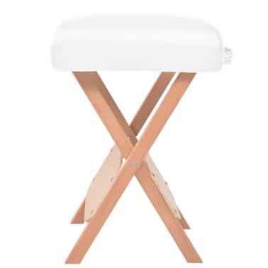 vidaXL Massage-Klapphocker mit 12 cm Dickem Sitz & 2 Nackenrollen Weiß[3/5]