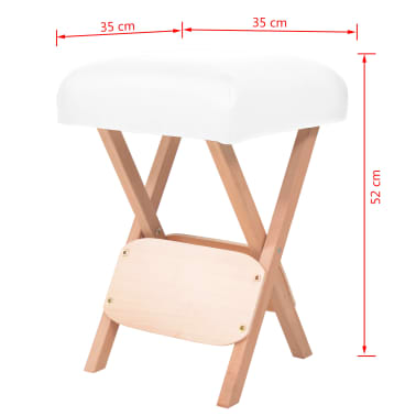 vidaXL Massage-Klapphocker mit 12 cm Dickem Sitz & 2 Nackenrollen Weiß[5/5]