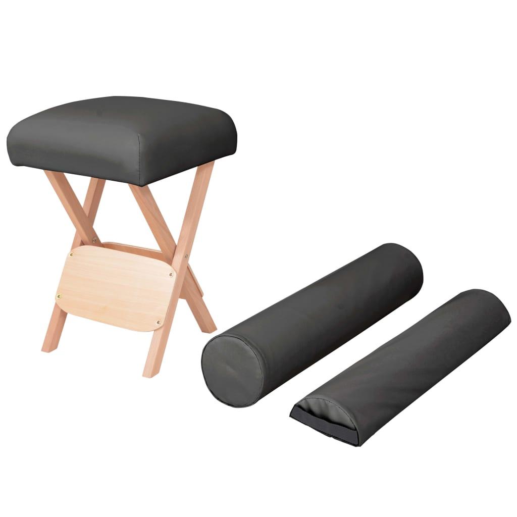 Afbeelding van vidaXL Massagekruk met 12 cm dikke zitting en 2 bolsters inklapbaar zwart