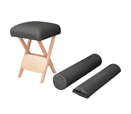 vidaXL Massage-Klapphocker 12 cm Dicker Sitz + 2 Nackenrollen Schwarz[1/5]