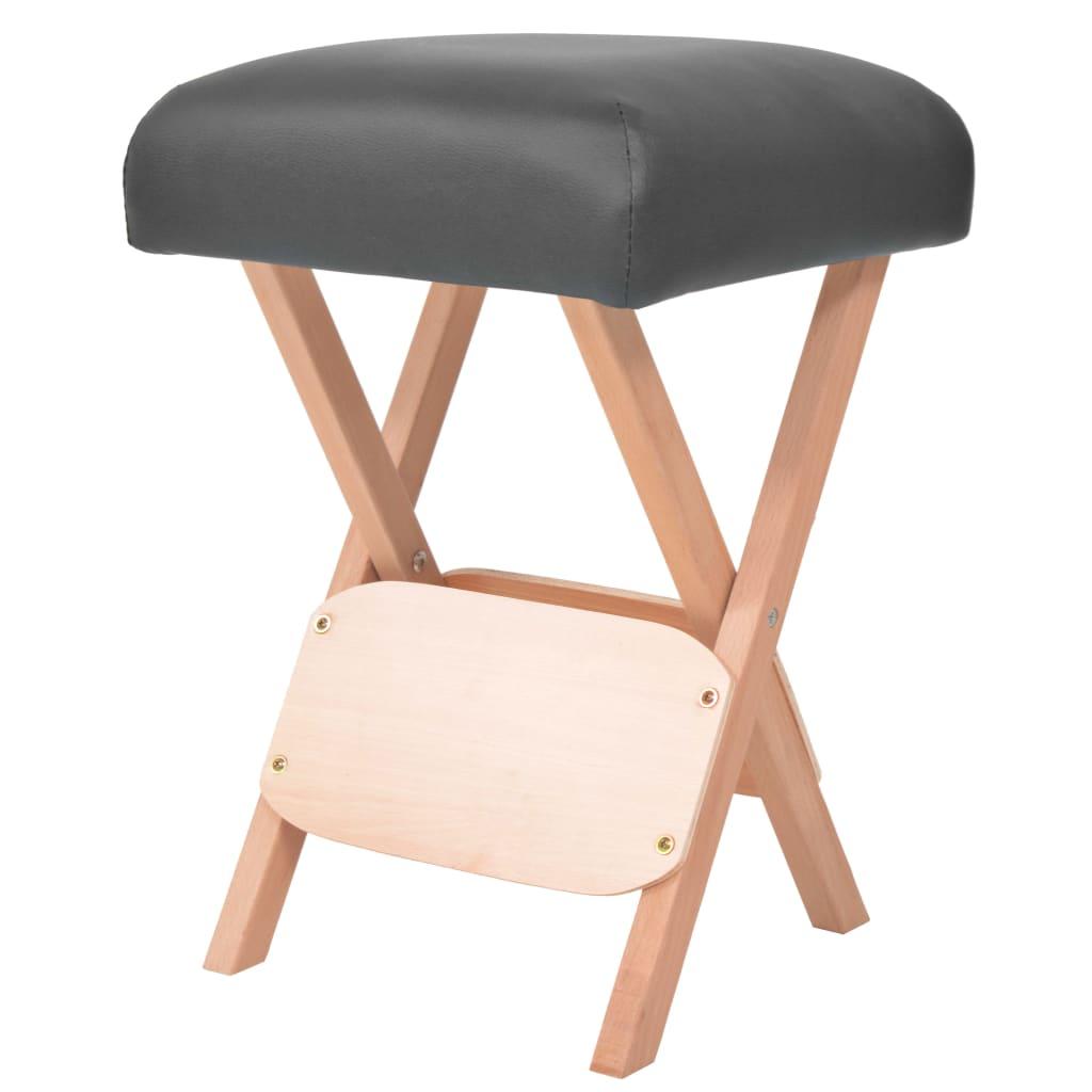 vidaXL Skládací masážní stolička, 12 cm silný sedák, 2 opěrky, černá