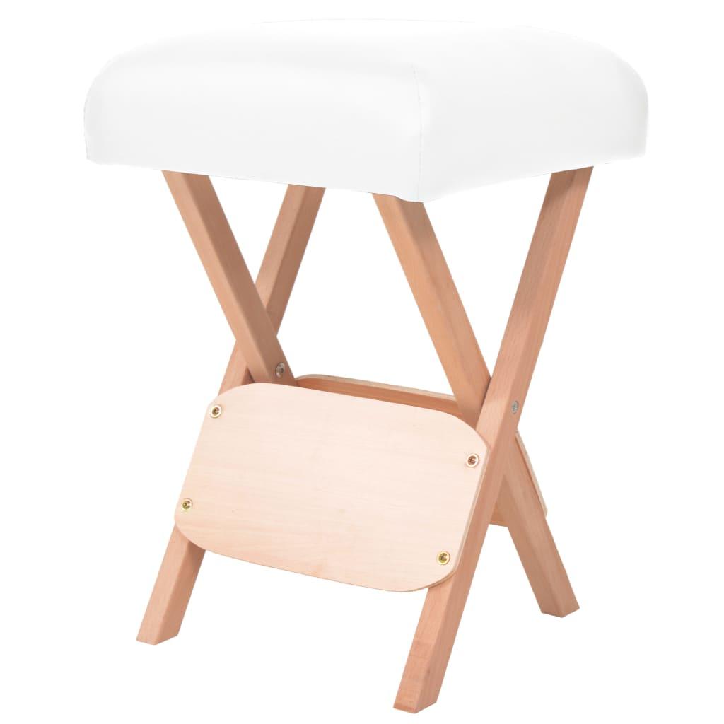vidaXL Skládací masážní stolička s 12 cm silným sedákem bílá