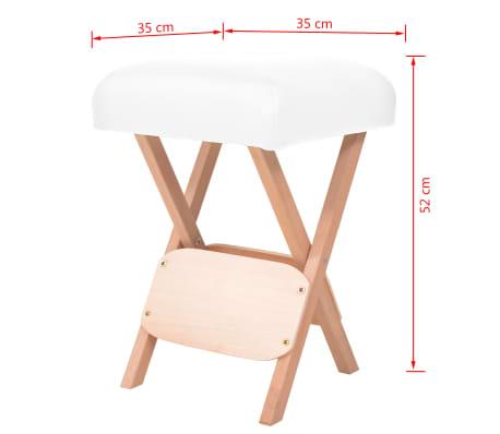 vidaXL Tabouret de massage pliant avec siège 12 cm d'épaisseur Blanc[4/4]