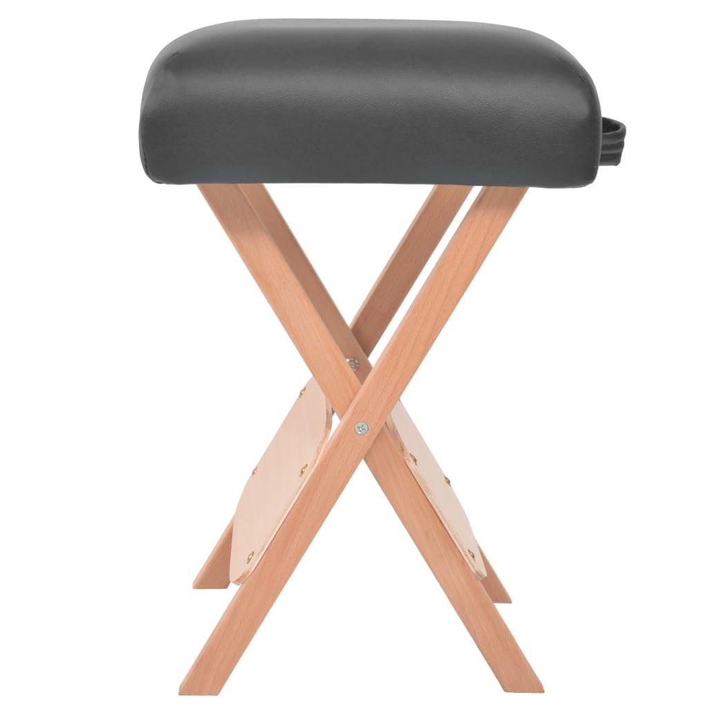 vidaXL Skládací masážní stolička 12 cm silný sedák černá