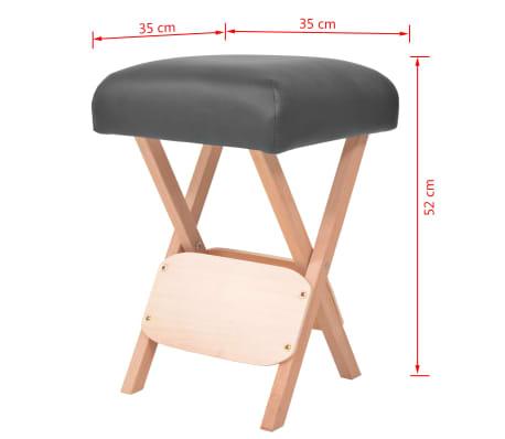vidaXL Sulankstoma taburetė masažui, juoda, 12cm storio sėdynė[4/4]