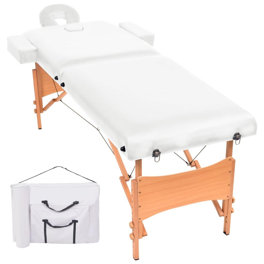 vidaXL Masă de masaj pliabilă cu 2 zone, 10 cm grosime, Alb vidaxl.ro
