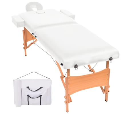 vidaXL Table de massage pliable à 2 zones 10 cm d'épaisseur Blanc[1/11]