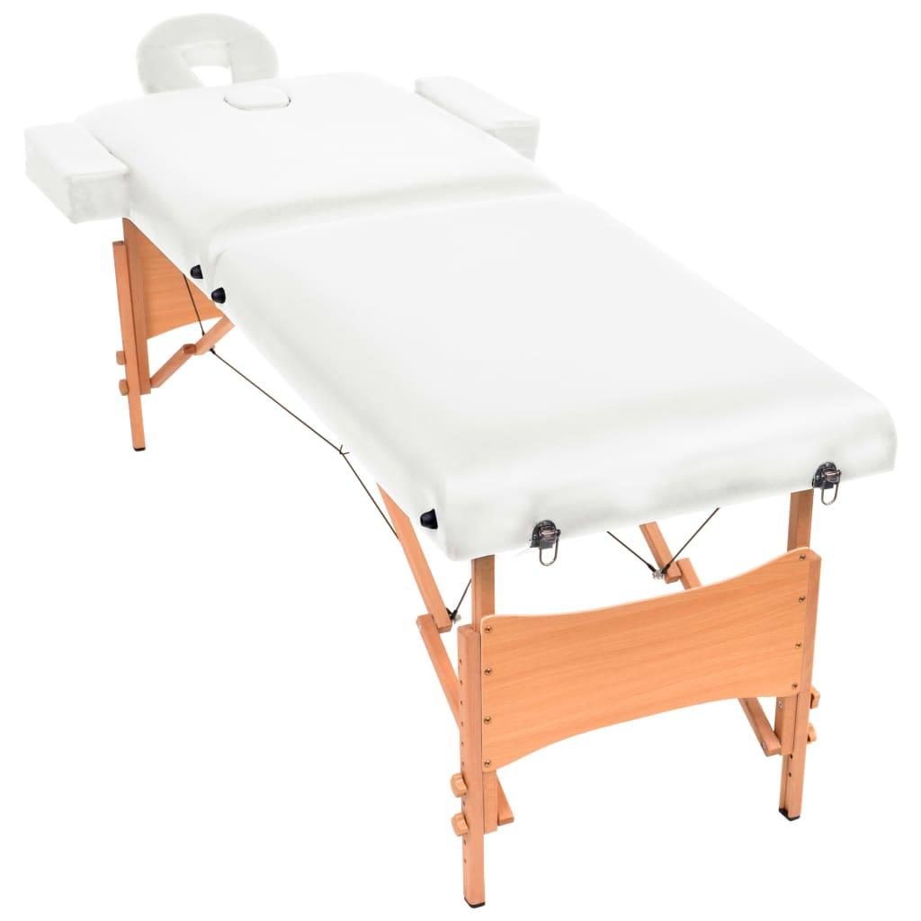 vidaXL Massagetafel 10 cm dik 2 zones inklapbaar wit