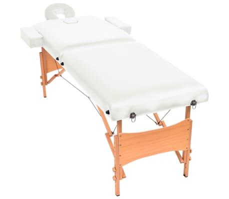 vidaXL Massageliege 2 Zonen Tragbar 10 cm Polsterung Weiß[2/11]